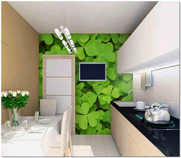 Оформление кухни фотообоями позволяет расширить ее пространство