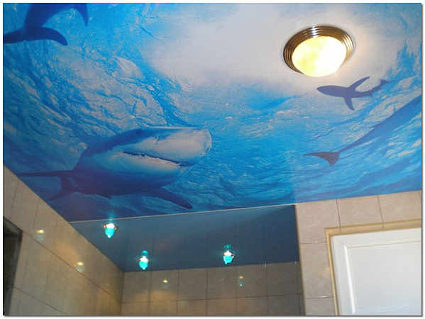 Натяжной потолок с арт-печатью (фотопечатью) в ванной фото