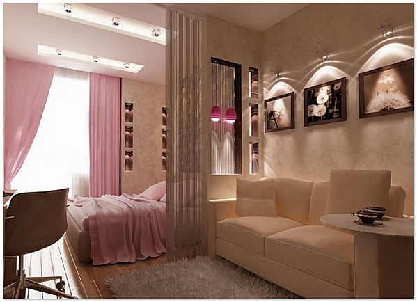 Выделяем зону спальни плотными шторами