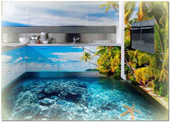 3D наливной пол на кухне